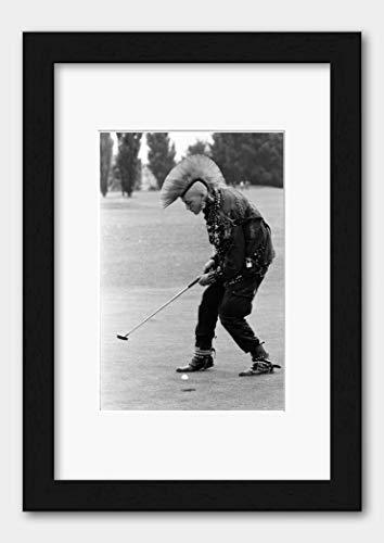 Punk Matt Belgrano Playing Golf in Wentworth England 1985 Print 3 Black Frame White A3 (29.7x42cm)