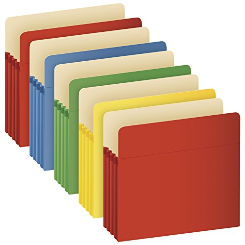 Globe-Weis/Pendaflex Colored File Pockets, Letter Size, 3.5 Inch Expansion, Assorted Colors, 5 Pockets per Pack (1524E5 ASST)