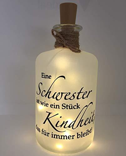 Farbwuselei Flaschenlicht Schwester ist wie EIN Stück Kindheit, das für Immer bleibt Bottlelight Dekoflasche Beleuchtung LED Leuchtflasche Lichterkette Geschenk Homedeco modern