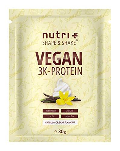 Protein Vegan Vanille 30g Probe - 84,6% Eiweiß - 3k-Proteinpulver - Nutri-Plus Shape & Shake - Low Sugar Eiweißpulver ohne Lactose & Milcheiweiß - Probiergröße