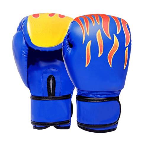 Guantes de Boxeo para Adultos Sanda Guantes de la Lucha Libre Lucha Guantes Saco Profesional Training Boxeo Guantes llenos Equipo de Entrenamiento del sacador,Azul,10oz