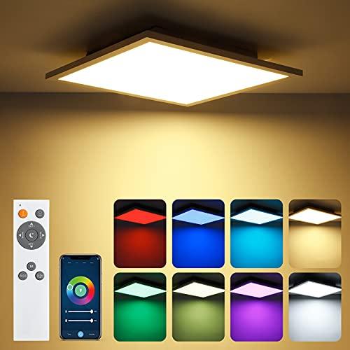 Yafido Plafon LED Techo Regulable 18W con Mando a Distáncia 1920Lm Lámpara De Techo LED Cuadrada 30x30cm RGB Controlada por APP WiFi para Cocina Dormitorio 3000-6000K