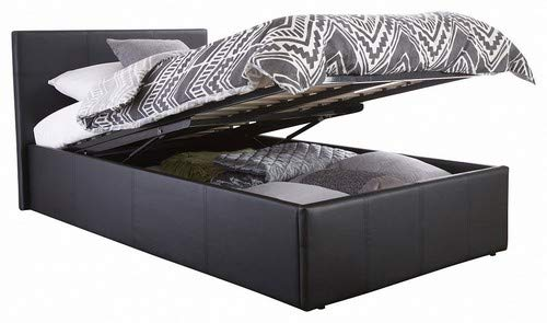 Home Source Contemporary End Gas Lift Ottoman Black Faux Leather Storage Bedstead - Single