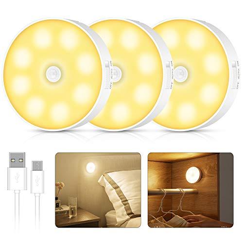 LED Nachtlicht mit Bewegungsmelder, 3 Stück Warmweiß Auto EIN/AUS Nachtlicht mit Dämmerungssensor, Stick-On Nachtlicht Bewegungsmelder Batterie für Kinderzimmer Schlafzimmer Treppen Flur
