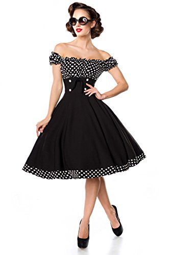 Belsira Schulterfreies Swing-Kleid Frauen Mittellanges Kleid schwarz/weiß M