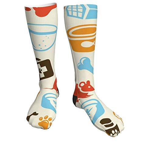 Calcetines de compresión para mujeres y hombres Calcetines gruesos de talón con patrón de cuidado de gato vintage: lo mejor para correr, deportes atléticos, viajes en avión, embarazo, fútbol