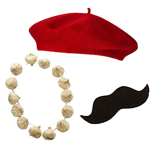Silver Fancy Dress French Mime Set Men's Red Beret Hat, Garlic Garland Mustache / 3 PC Adult French Costume Kit , Fun Party Theme Fancy Dress