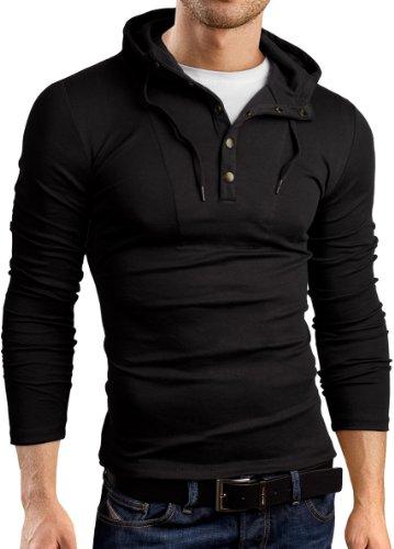 Grin&Bear Slim Fit Hoodie Kapuzenpullover, Langarm, schwarz, L, GB120