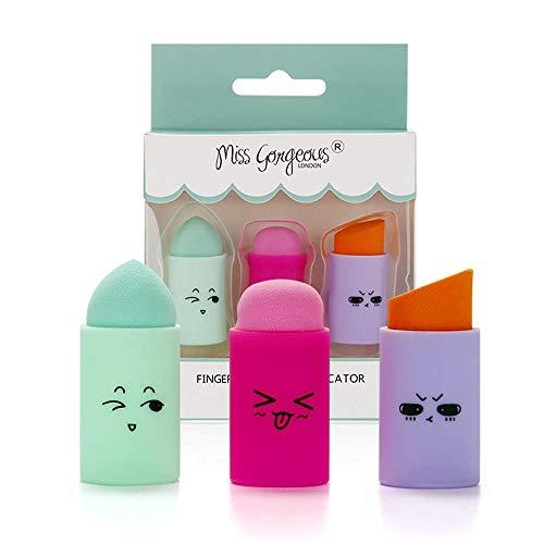 3 Pièces De Cosmétiques Doigt Éponge Maquillage Mignon Maquillage Doux Éponge Liquide Fondation Bouffée Outil De Maquillage