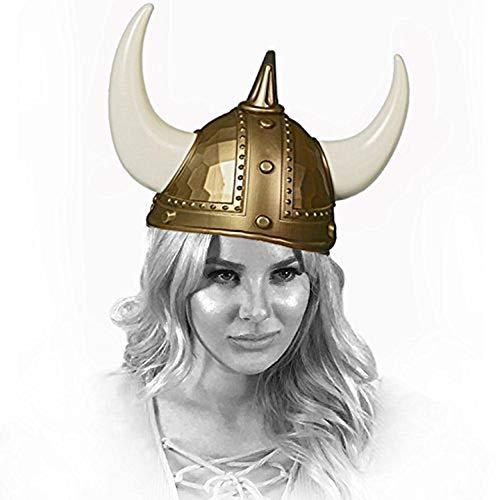 Adorox Adult Kid Medieval Viking Warrior Horns Plastic Hat Helmet Unisex Halloween Party Costume Accessory