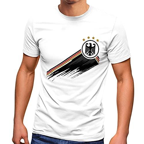 MoonWorks® Herren T-Shirt Deutschland Fußball EM-Shirt 2021 WM Fanshirt Deutschlandshirt Adler weiß XL