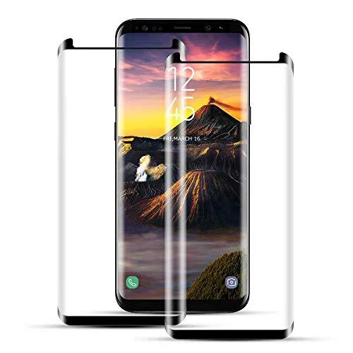 Mriaiz Panzerglas Schutzfolie Kompatibel für Samsung Galaxy S8, [2 Pack] 3D Curved Cover Panzerglasfolie, Anti-Fingerabdruck, Blasenfrei, Anti-Kratzer, HD Displayschutzfolie für Galaxy S8