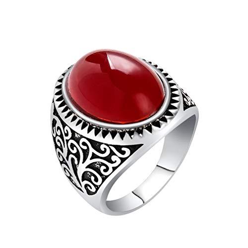 YAZILIND Moda Tallada Banda Anillo Grande Rojo Piedras Preciosas Anillos Hombres y...