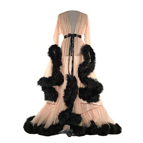 SMchwbc Feder Brautkleid Frauen Durchsichtige Sexy Dessous Nachtwäsche Damen Feder Robe Extra Langes Nachthemd Mesh Sheer Dressing Nachtwäsche Mit Rüschenbesatz (Beige)