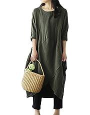 JudyRose ワンピース レディース 長袖 秋冬 ゆったり 大きいサイズ ロング丈 体型カバー 綿 無地 カジュアル
