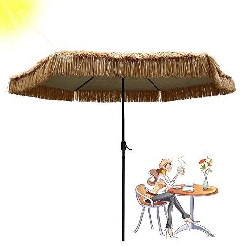 LDJ Ombrello da Giardino in Paglia, Protezione UV Ombrello Parasole da Esterno, Ombrellone con Manovella Idrorepellente, Ombrello Portatile in Paglia Tiki in Paglia 2.7m (Senza Base)