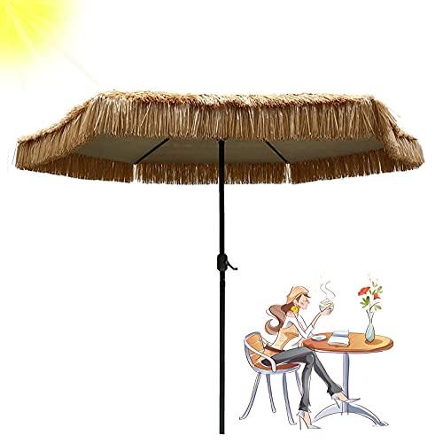 LDJ Exterior Jardín Sombrilla, con 8 Costillas Sombrilla De Paja Cuadrada Hawaiana De Playa, Color Natural Paraguas Sol Plegable con Manivela, para Paraguas Mesa del Patio Playa