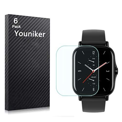 Youniker Protector de pantalla compatible con Amazfit GTS 2 para Amazfit GTS2 Smartwatch Protector de pantalla de cristal transparente HD antiarañazos y antihuellas