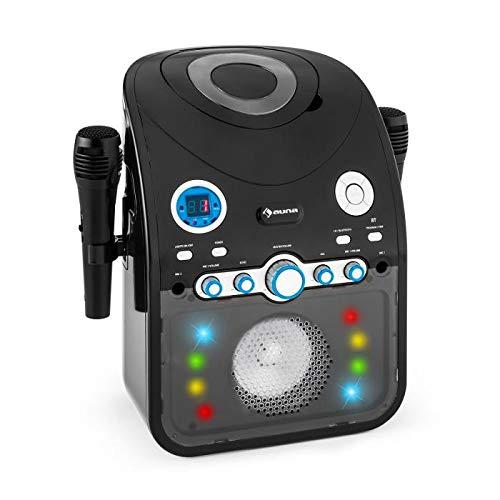 auna StarMaker Black Edition - Equipo de Karaoke, Reproductor de CD, Interfaz Bluetooth, Puerto USB, Entrada AUX, Efecto iluminación LED, 2X micrófonos, CD+G (CD Karaoke con subtítulos), Negro