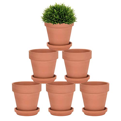 4 Inch Terra Cotta Pots with Saucer - 6 Pack Clay Flower Pots with Drainage, Great for Plants, Crafts, Wedding Favor (4 Inch)