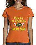 latostadora - Camiseta No Me Caso, para Mujer Naranja L
