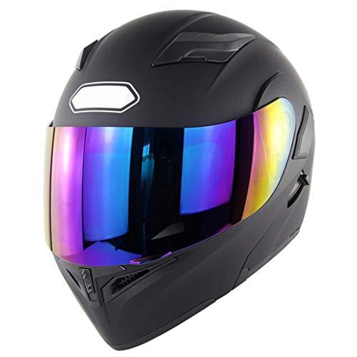 XIAO-helmen motorhelm integraalhelm met vizier Off-Road Racing veiligheidshelm voor gekleurde glazen met dubbele lens zwart mat van Cross (57-64 cm)