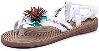 CHENDX New Summer Bohemian Women's Sandals Flat Toe Beach Shoes Beautiful Flowers Beaded Sandals