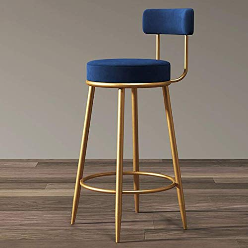 TTOOY Modern Upholstered Velour Barstool Chairs With Back,Counter Height Stools With Metal Legs For Dining Room,Velvet Bar Stools-Blue 40x40x65cm(16x16x26inch)