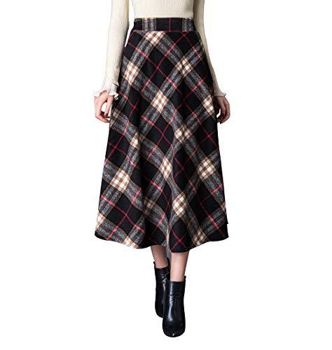 BiilyLi Rayas Cuadros Caliente Larga Falda Otoño de Las Mujeres y la Moda de Invierno Elegante Falda de Lana de Alta Cintura A-Line Cintura elástica (S (Cintura: 64-70 cm), Negro 2)