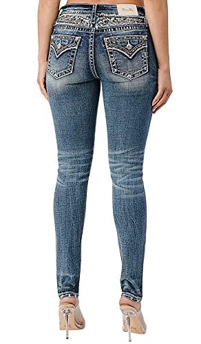 Miss Me Women's Embellished Skinny Jeans Dark Blue 30W x 30L