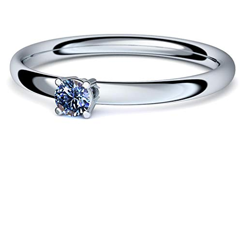 Weißgold Ring Tansanit 750 + inkl. Luxusetui + Tansanit Ring Weißgold Tansanitring Weißgold (Weißgold 750) - Concinnity Amoonic Schmuck Größe 52 (16.6) AM161 WG750TAFA52