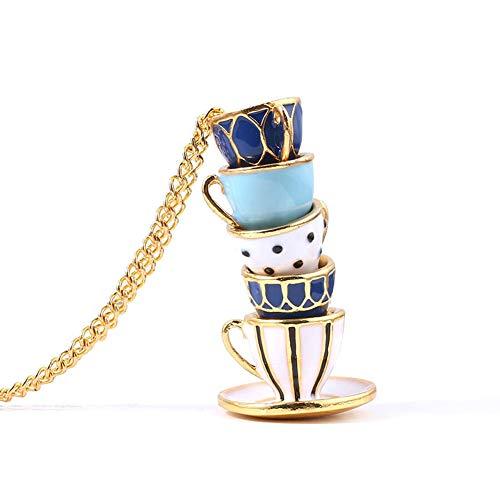Moniku Fun enamel cup enamel multiple tea cup chain pendant Woman Jewelry Gift (gold-1)