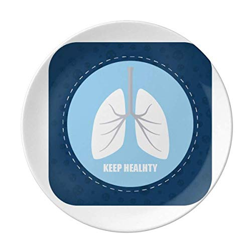 Logo Keep Lung Healthy Teller, dekoratives Porzellan Salver Geschirr Dinner Dish Dish