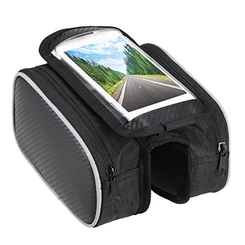 Z-Y Fietstas Waterbestendig berg Dubbele zakken for het fietsenrek mand zakken 5,5 inch touch screen mobiele telefoon pocket bike mountainbike #z (Color : Black)