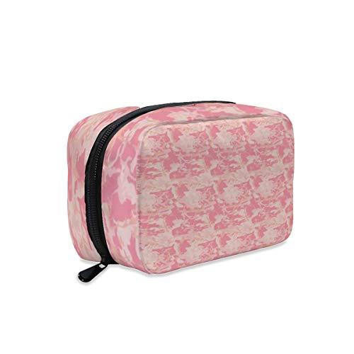 Kosmetiktasche mit Reißverschluss, groß, tragbar, Pink und Pfirsichfarben
