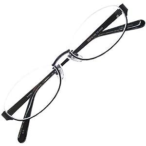 伊達 眼鏡 アンダーリム オーバル 型 メタル メガネ ブルーライトカット (ブラック)