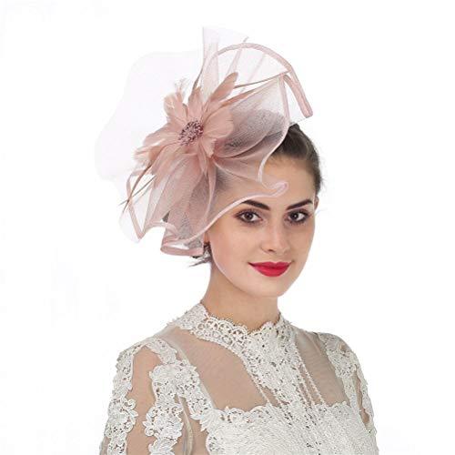 Fascinators Hut Blume Mesh Bänder Federn auf einem Stirnband und einem geteilten Clip Cocktail Tea Party Hochzeit Kirche Headwear für Mädchen und Frauen Braut (A1-Skin Pink)