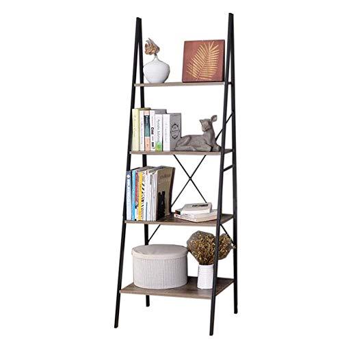 JCNFA Planken Boekenkast 4-laags Tilt Ladder Boekenkast Multifunctionele Display Stand Opslagplank Eenheid Frame, Ijzer En Hout 23.62 * 19.68 * 70.86in Zwart