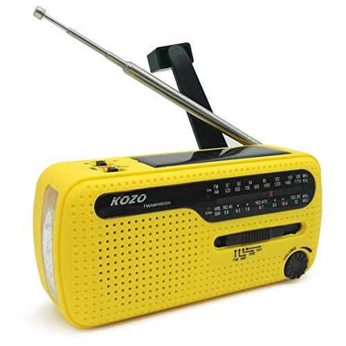 Best NOAA Weather Radio for Emergency by Kozo. Multiple Ways to Charge, Self Powered by Dynamo Hand Crank & Solar Panel, Long Antenna to Pick Up Reception Everywhere (Yellow)