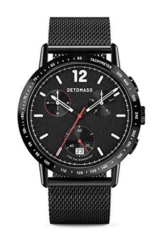 DETOMASO Adesso Chronograph Limited Edition Black Herren-Armbanduhr Analog Quarz Mesh Milanese Schwarz