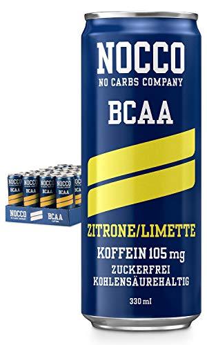 NOCCO BCAA Zitrone/Limette 24 x 330ml Proteinreiches Energy - Getränk ohne Zucker No Carbs Company Vitamin- und Koffein-Boost