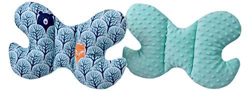 Medi Partners Coussin de nuque pour enfant - 100% coton - Coussin de nuque pour bébé - Pour voiture, poussette, voyage, sommeil - Motif forêt avec minky minky