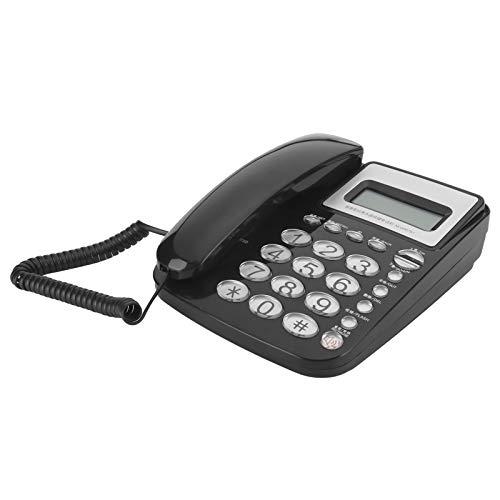 AEQ96761Teléfono Fijo Doméstico con Botones de Cristal Clásico Grandes, DTMF/FSK Sistema Dual Teléfono Fijo Comercial de Diseño Simple para Oficinas Hoteles y Casas, Color Negro