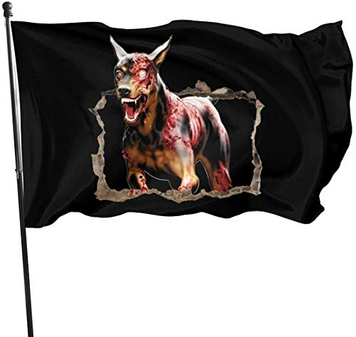 jhin Dekorative Fahnen Halloween 3D Wall Art Dog Scary Creepy Themed Welcome Party Outdoor Outside Decorations Ornament Picks Home Garden Decor 3 X 5 Ft