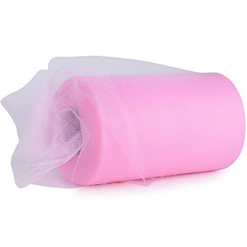 91m*15cm Rollos de Tul Carrete de Tulle Rosa Decoración Boda Fiesta Cumpleaños Bricolaje 100 yardas (Rosa)