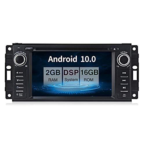 por Jeep Wrangler Dodge Chrysler Android 10.0 Coche Estéreo DVD Multimedia Jugador GPS Navegación 6,2' HD Toque Pantalla Nav Sat Cabeza Unidad Bluetooth WiFi Vídeo Receptor