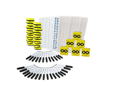 Lined Dry Erase Boards   36 Lapboard Class Set   with Dry Erase Whiteboard Markers, Erasers   Perfect Board for Kids, Students, Teachers in The Classroom, Home or Office