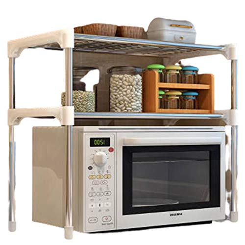 2-Stufiges Küchenregal - 57X30x48cm, Edelstahlregal Zur Aufbewahrung, Kichenregal Ohne Bohren | Küchenwaren,Weiß