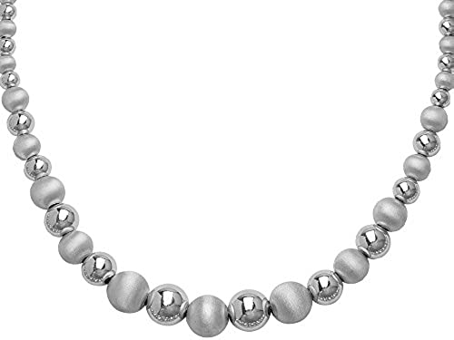 Sterling Silber rhodiniert 12  Graduated Shiny Satin Bead Kette Halskette 46cm
