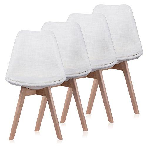 Makika Design Stuhl Retro Stuhl Esszimmerstuhl Bürostuhl Sitzgruppe Zura in Creme mit Rückenlehne